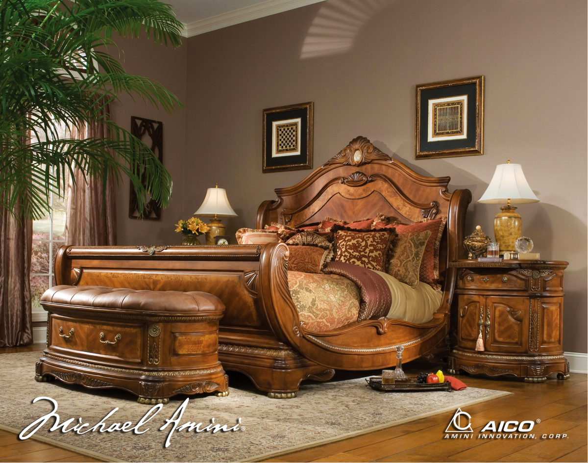 Michael amini cortina luxury bedroom furniture set by aico - King size sleigh bed bedroom set ...