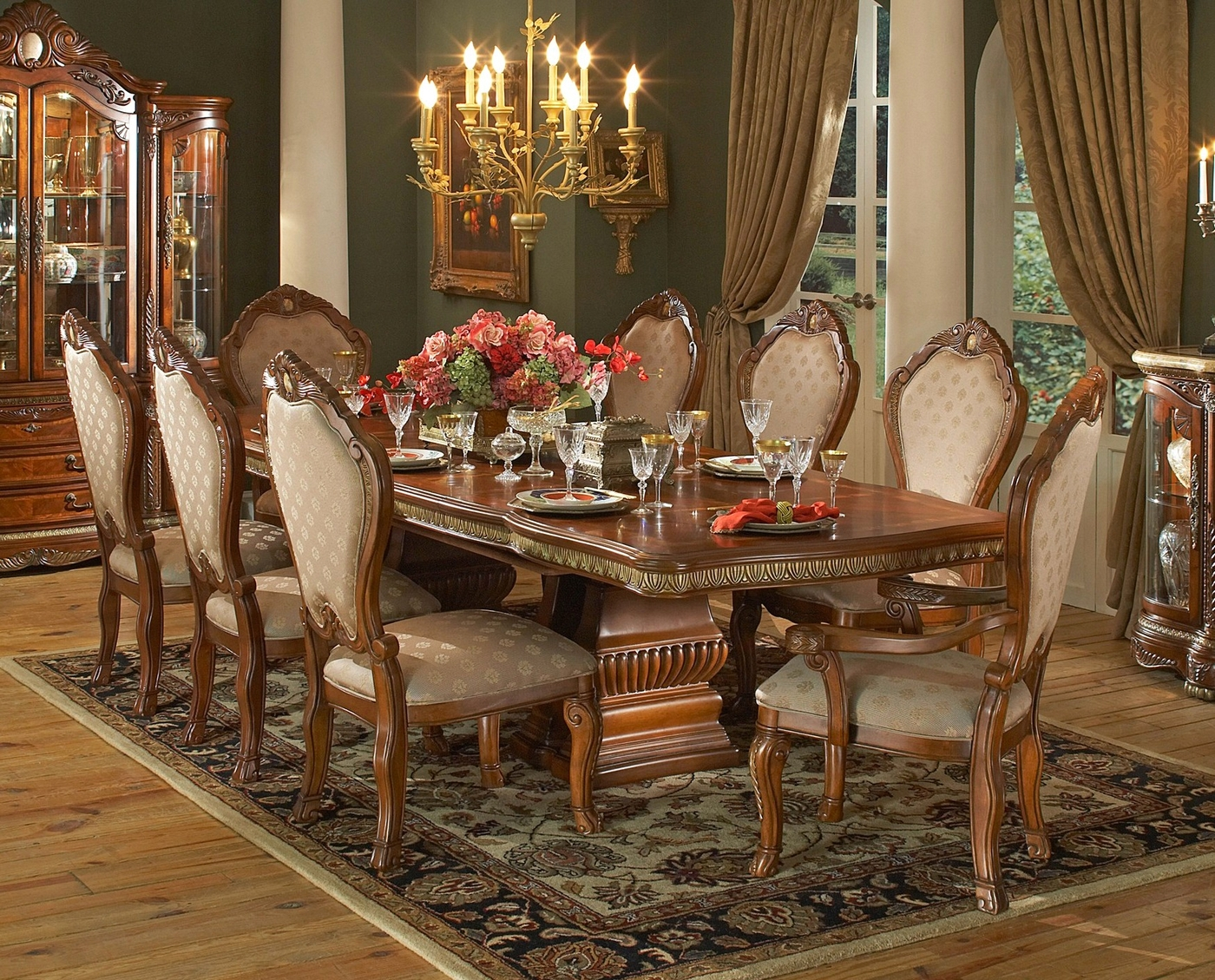 Double Pedestal Dining Table Walnut Dining Room Set