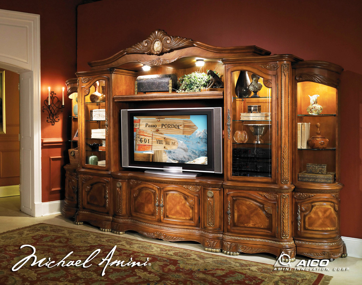 Michael amini cortina traditional wall unit large tv Wall unit furniture