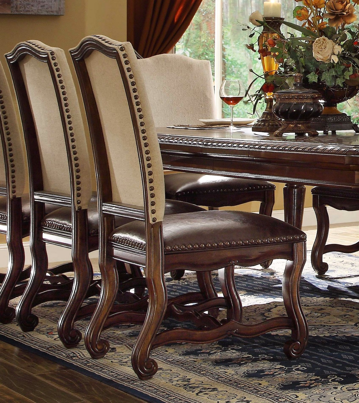 Set Of 2, Coruna Upholstered Wood Side Chairs W/ Nailhead Trim