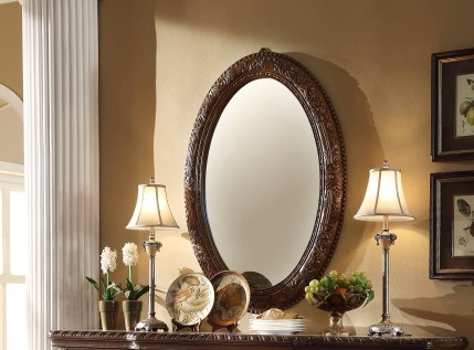 Coruna Traditional Oval Shaped Beveled Mirror In Rich Wood Finish