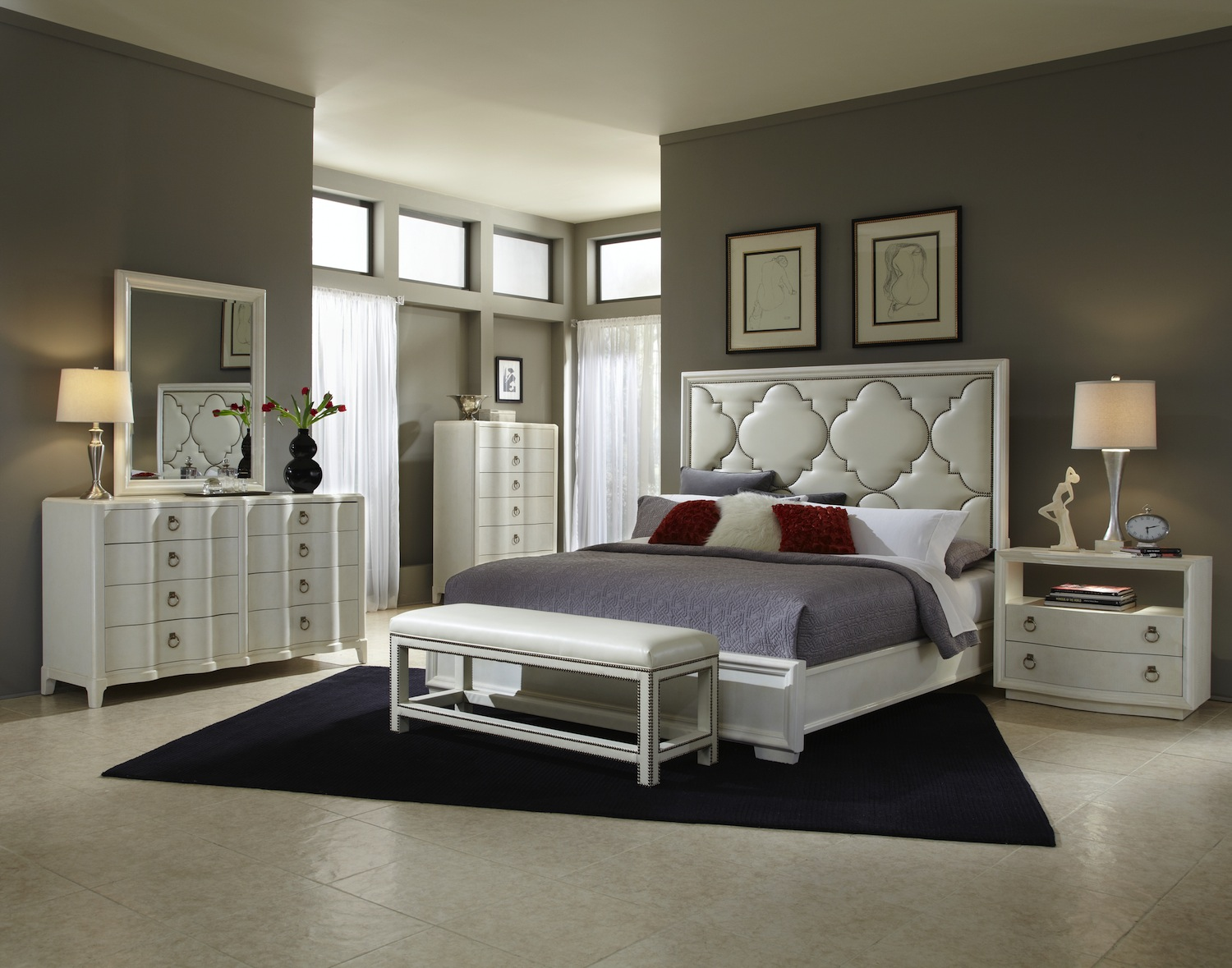 cosmopolitan parchment hollywood glamour bedroom set 208000. Black Bedroom Furniture Sets. Home Design Ideas