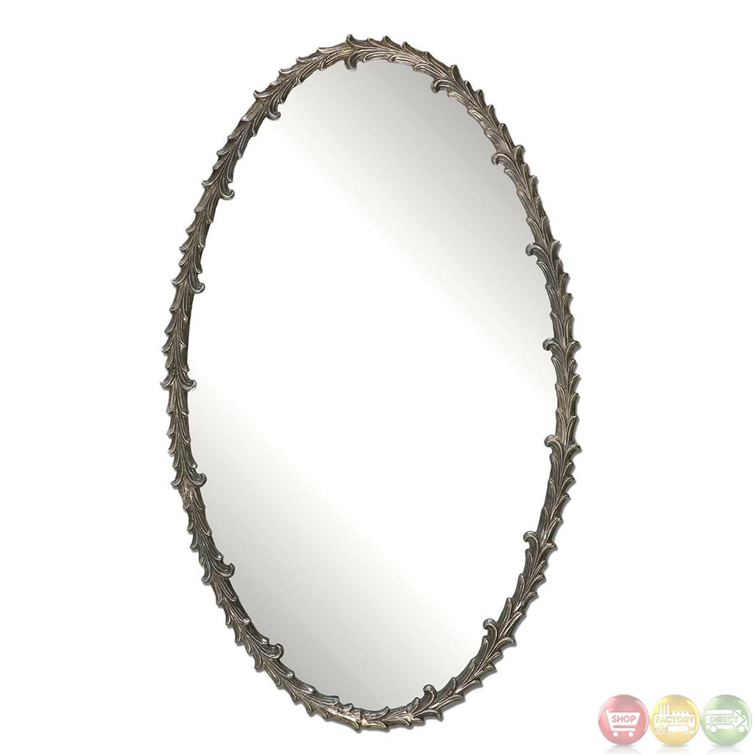Costano traditional antiqued silver leaf baroque oval for Baroque oval mirror
