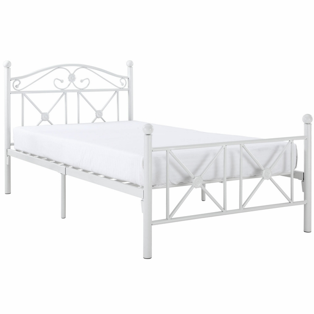 Cottage Country-style Metal Twin Bed With Round Ball Finials, White