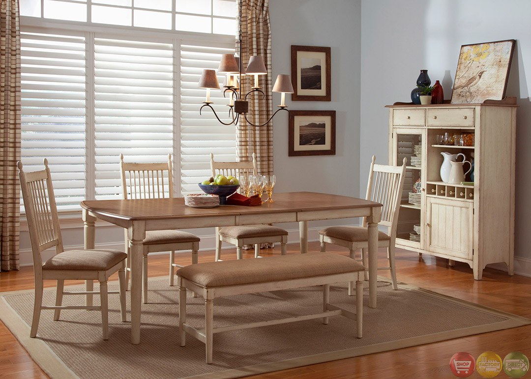 Cottage cove bench seating casual dining room set for Casual dining room