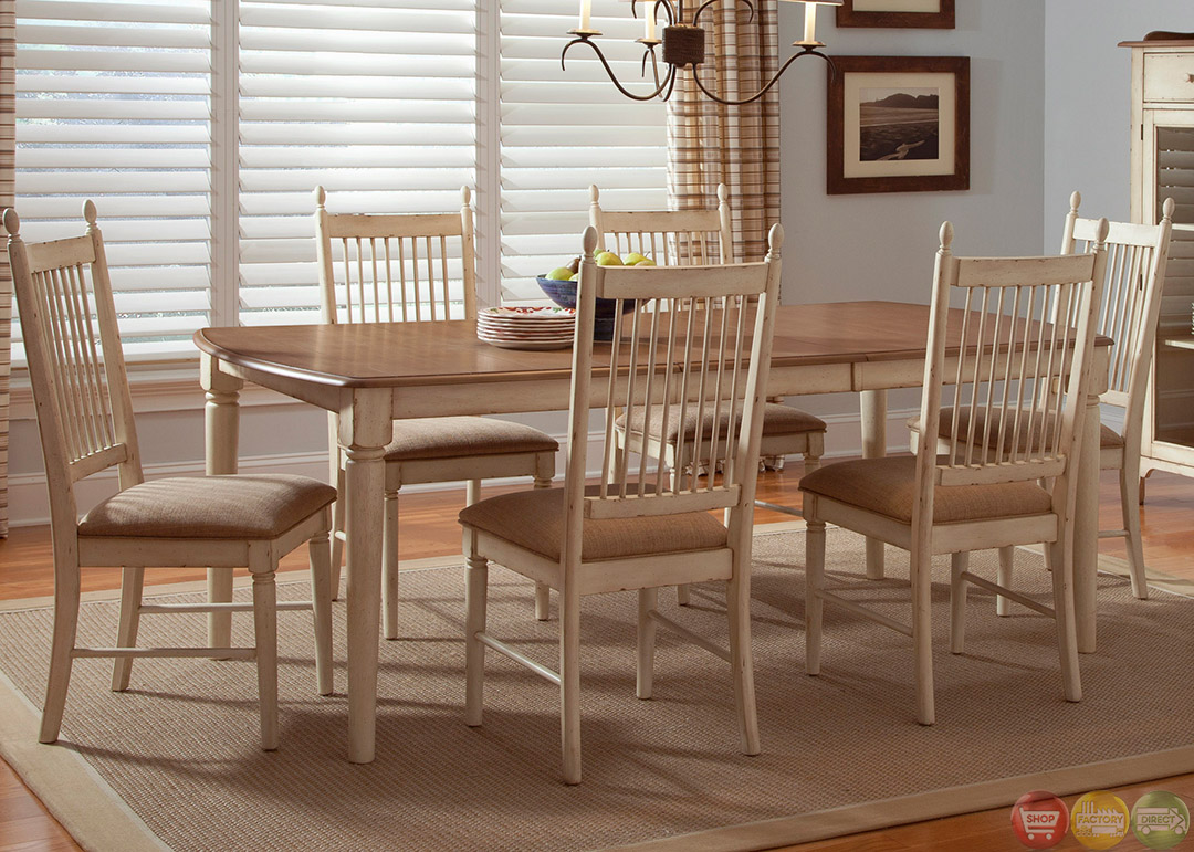 Cottage cove ivory finish casual dining room set for Casual dining room