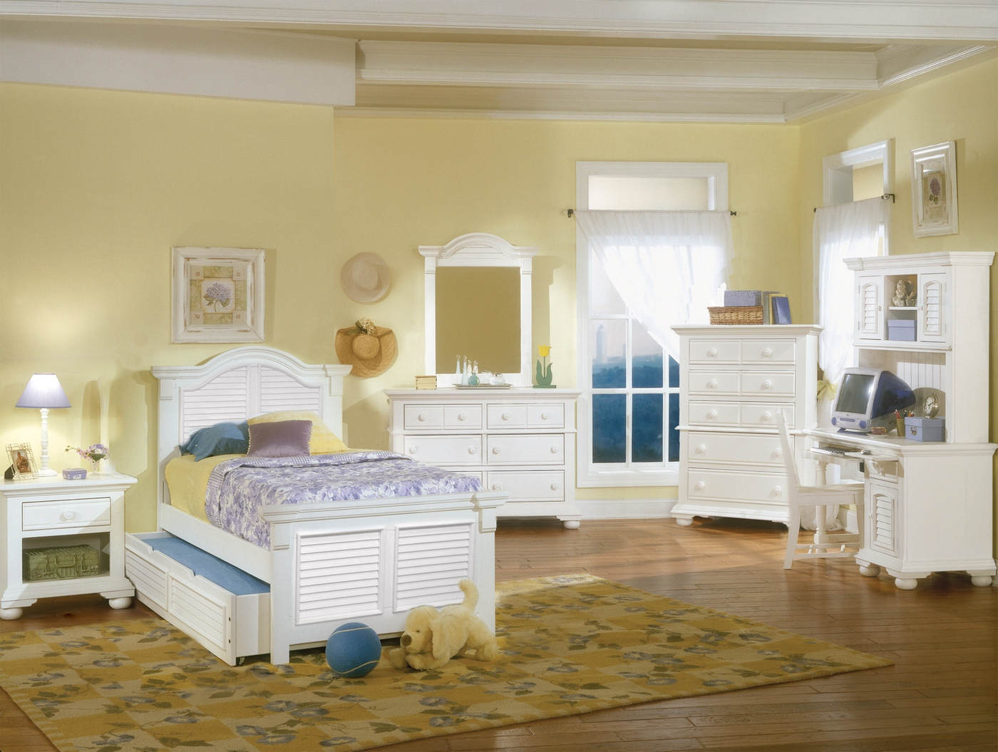 Cottage Traditional White Twin Bedroom Furniture Set Free