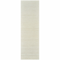 """Country Soft New Zealand Wool Rectangle Runner Area Rug 2'6""""x 8' Off White Solid"""