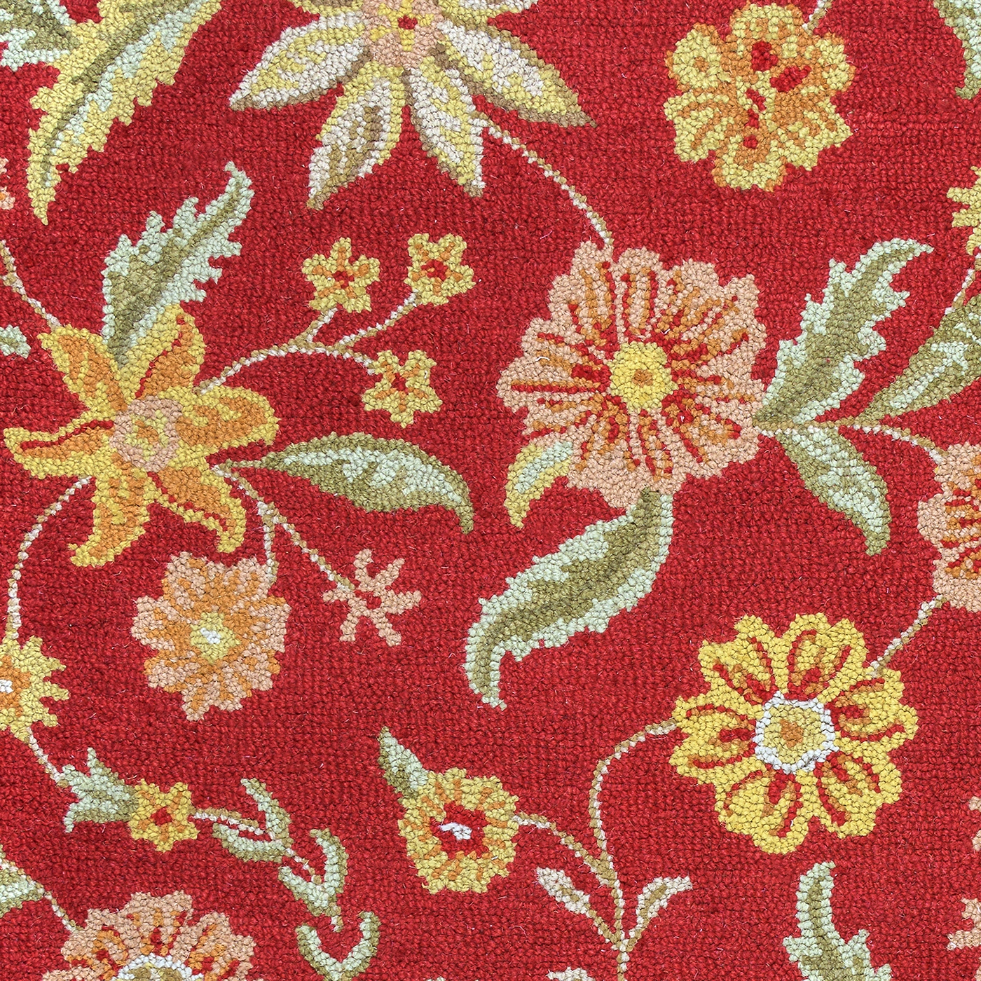 Country floral new zealand wool area rug in red orange for Red floral area rug