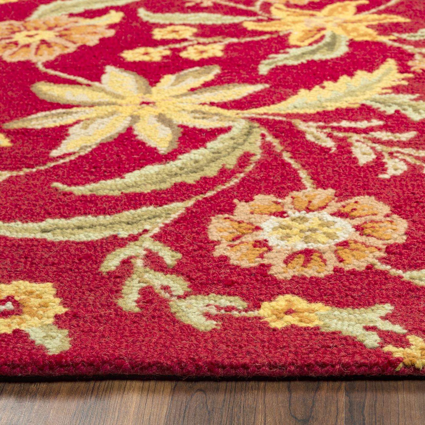 Country Floral New Zealand Wool Runner Rug In Red Orange