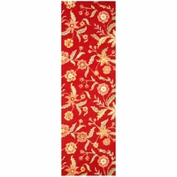 """Country Soft New Zealand Wool Runner Area Rug 2'6""""x 8' Red Orange Yellow Floral"""