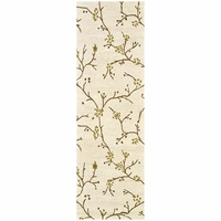 """Country Soft New Zealand Wool Runner Area Rug 2'6""""x 8' White Brown Tan Floral"""