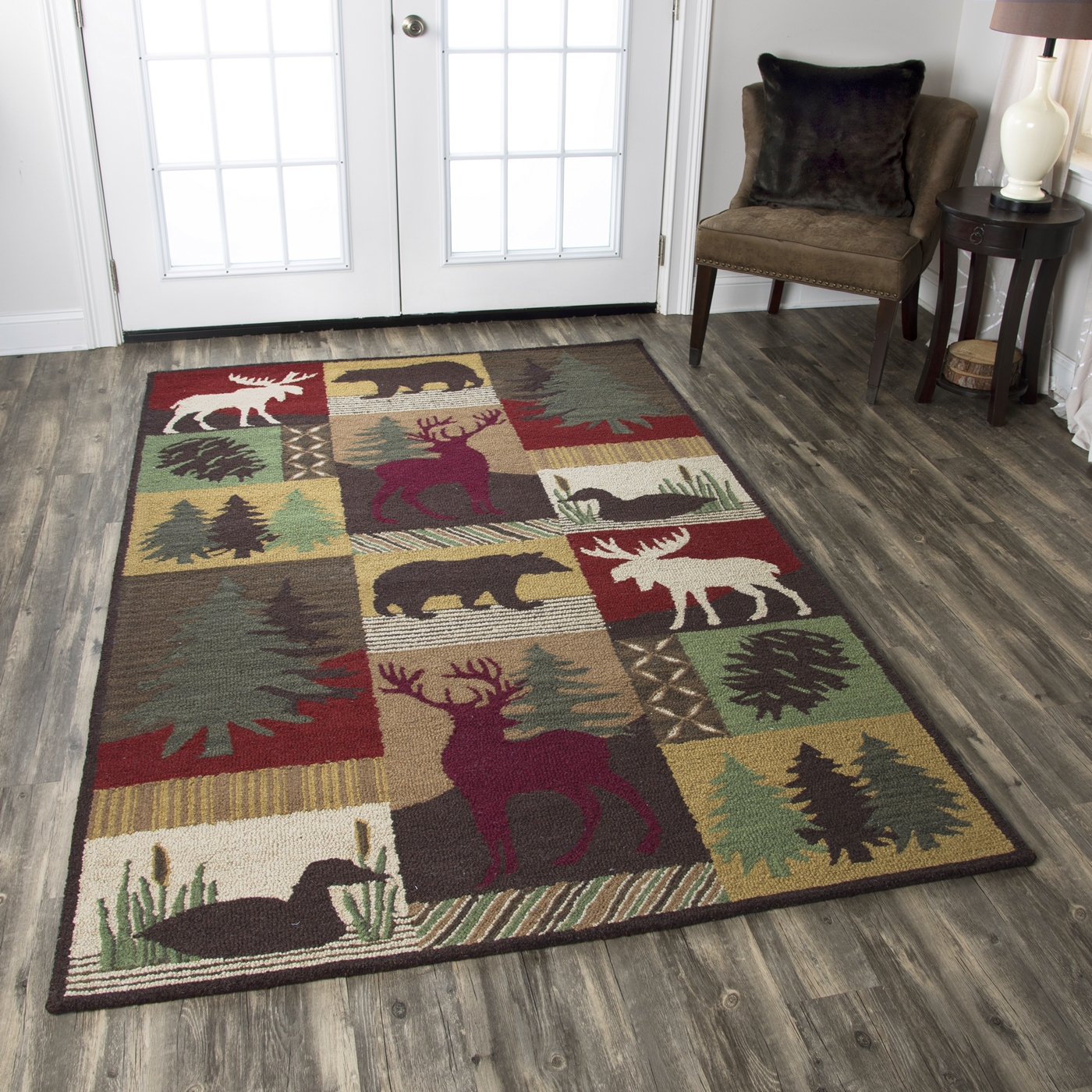 Country Forest & Animals Wool Area Rug In Red Brown Green