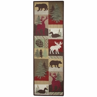 """Soft New Zealand Wool Runner Area Rug 2'6""""x 8' Tan Green Brown Red Cabin Lodge"""