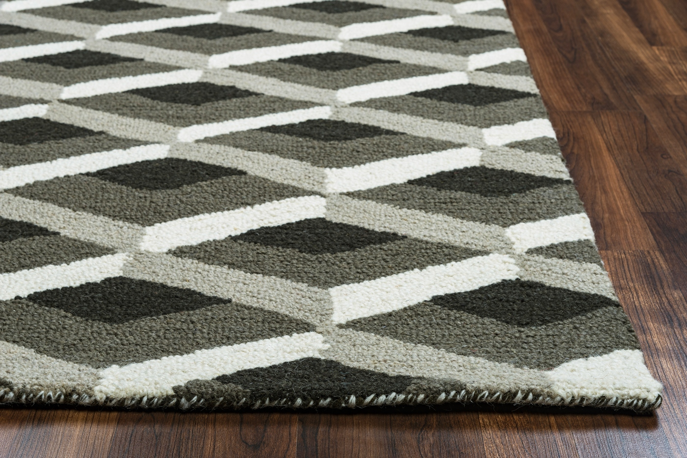 Country Geometric 3d Pattern Wool Area Rug In Grey Amp Black
