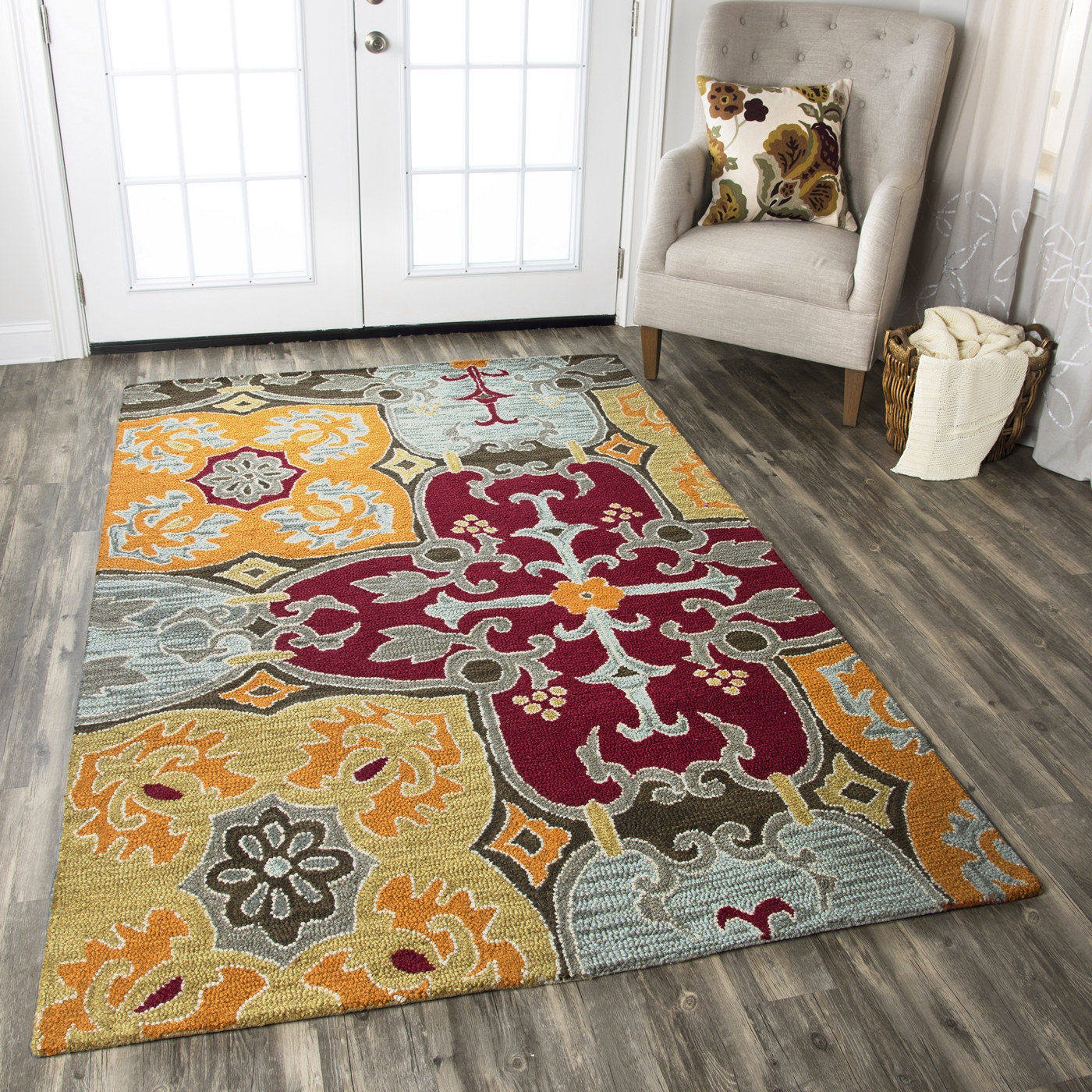 Country Large Ornamental Pattern Wool Runner Rug In Red