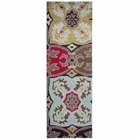 """Country Soft New Zealand Wool Runner Area Rug 2'6""""x 8'Olive Green Brown Blue Red"""
