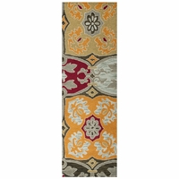 """Country Soft New Zealand Wool Runner Area Rug 2'6""""x 8' Orange Red Tan Brown Grey"""