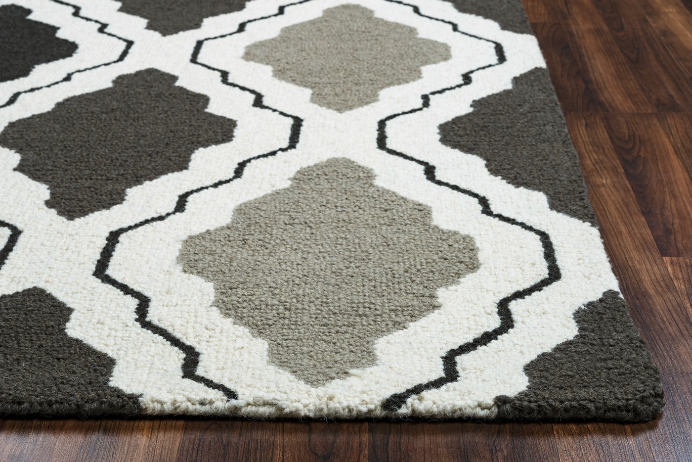 Country Trellis Diamond Pattern Wool Area Rug In Grey