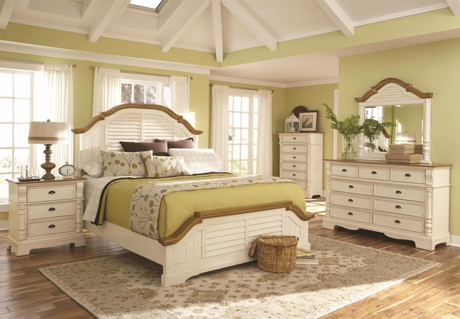 Country Two Tone Cottage White Finish Louvered Shutter Detail Bedroom Set