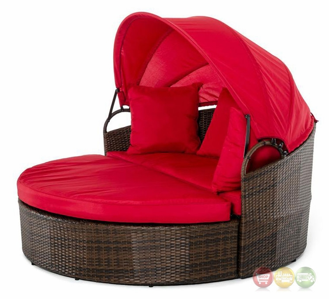 Cove Outdoor Round Day Bed With Red Retractable Canopy