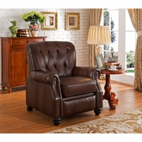 Covington Traditional Top Grain Brown Leather Pushback Reclining Chair