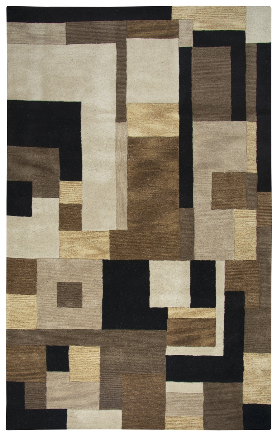 Craft Abstract Block Pattern Wool Area Rug In Brown Beige