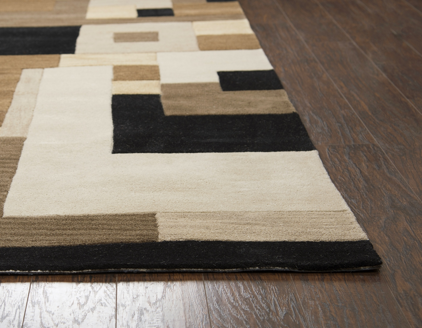 Craft Abstract Block Pattern Wool Runner Rug In Brown