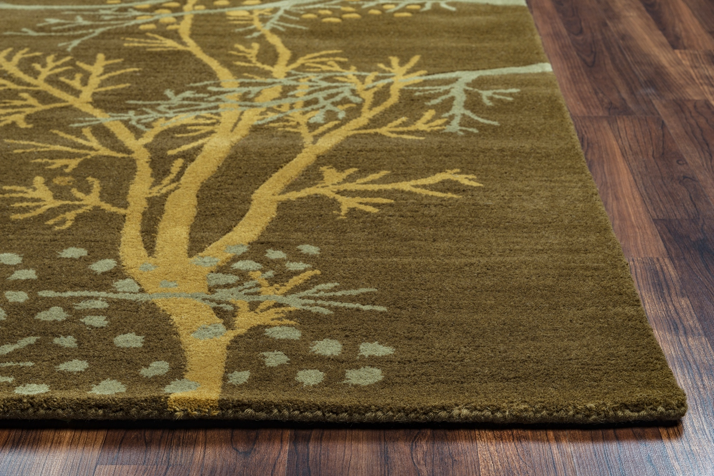 Craft Botanical Branches Wool Area Rug In Brown Yellow