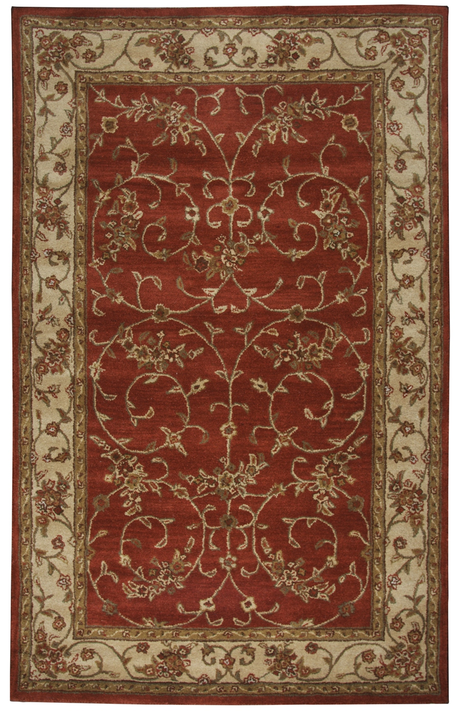 Craft Traditional Hand Tufted Wool Area Rug In Red Ivory