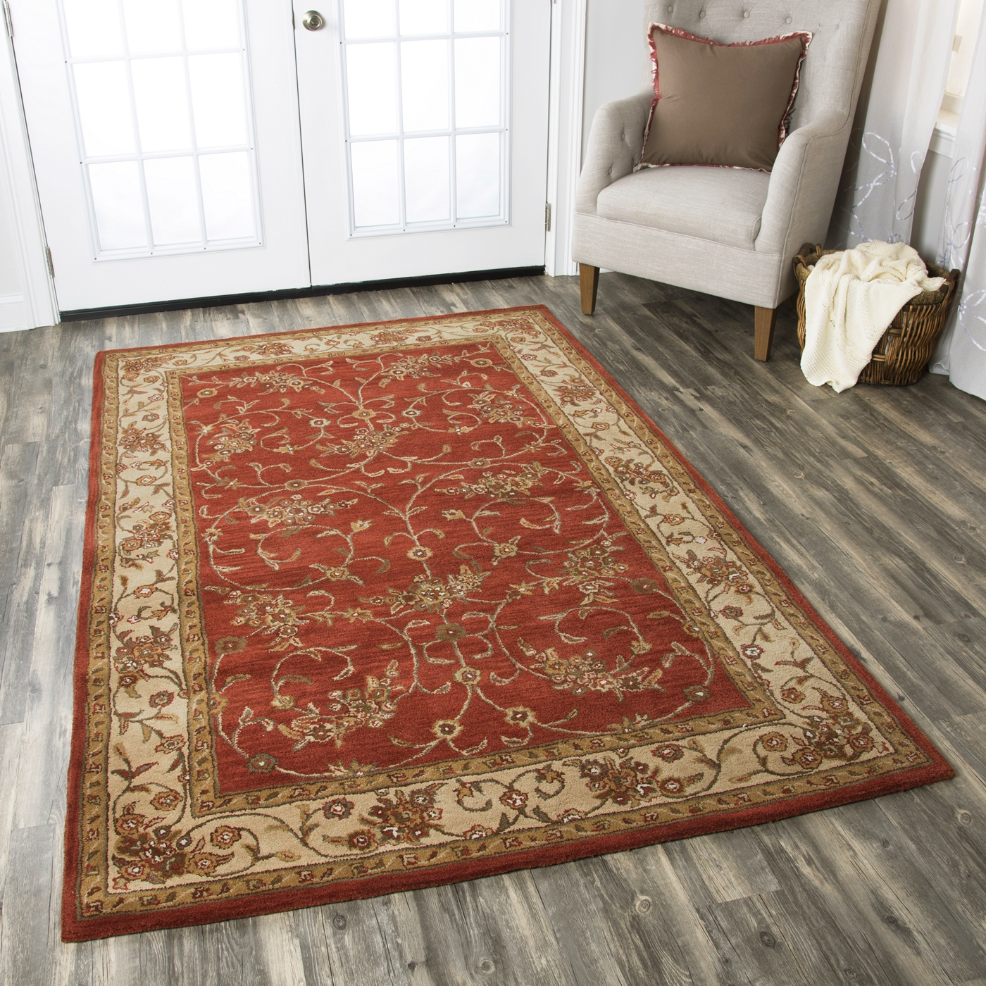 craft traditional hand tufted wool area rug in red ivory beige 12 39 x 15 39. Black Bedroom Furniture Sets. Home Design Ideas