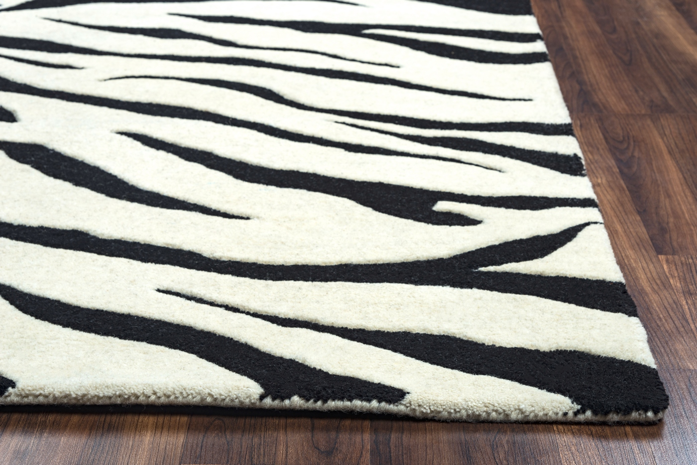 Craft Zebra Animal Print Wool Area Rug In White Amp Black 8
