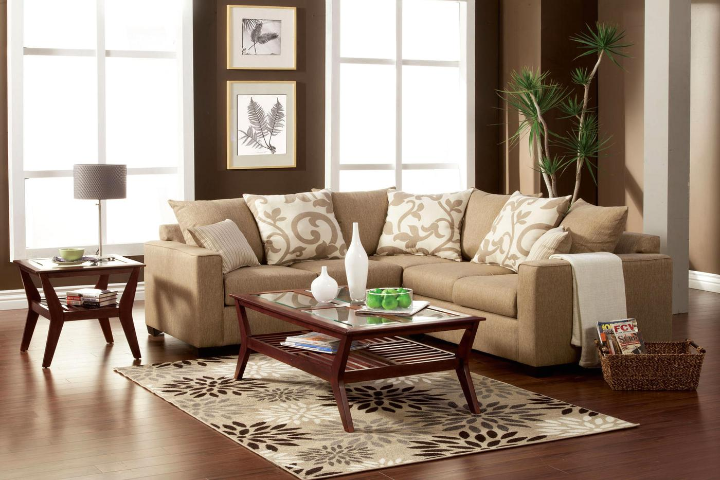 Cranbrook Contemporary Sand Stone Sectional Sofa Set With