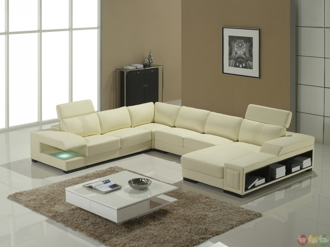 Cream Italian Leather Modern Sectional Sofa With Shelves