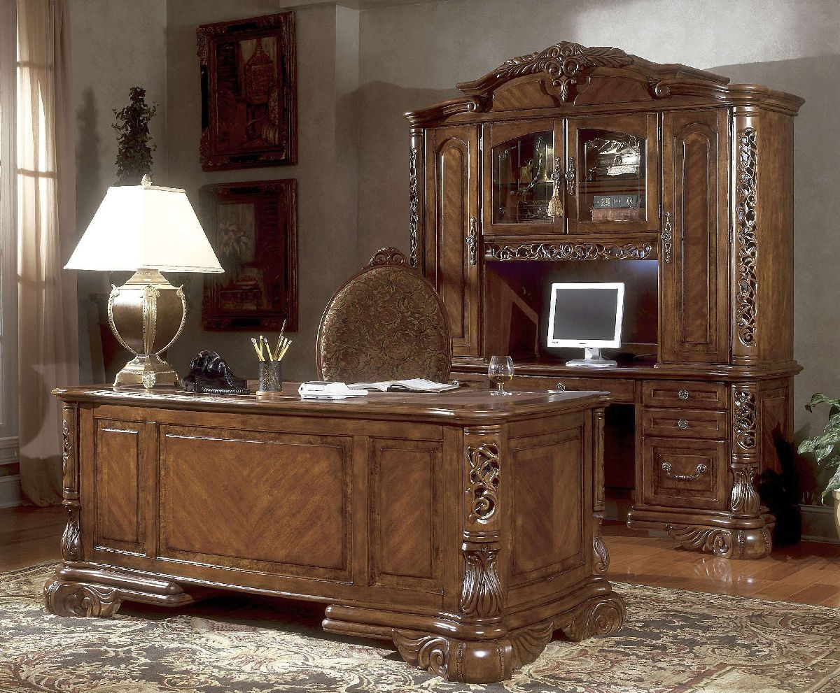 Home Office Sets Office Furniture Elements: Michael Amini Credenza Excelsior Home Office In Fruitwood