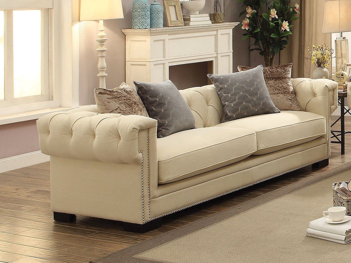 Creme Tufted Sofa In Sophisticated Cream Velvet with 8-way ...