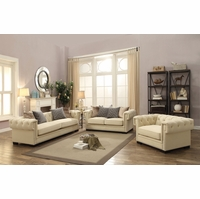 Creme Tufted Sofa Set In Sophisticated Cream Velvet with 8-way Suspension