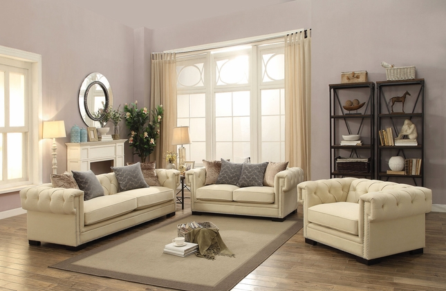 Creme Tufted Sofa Set In Sophisticated Cream Velvet With 8 Way Suspension