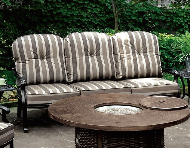 Crescent Casual Outdoor Patio Black Frame Sofa With