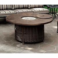 Crescent Outdoor Firepit Table In Two-tone Wicker & Wood Style Top