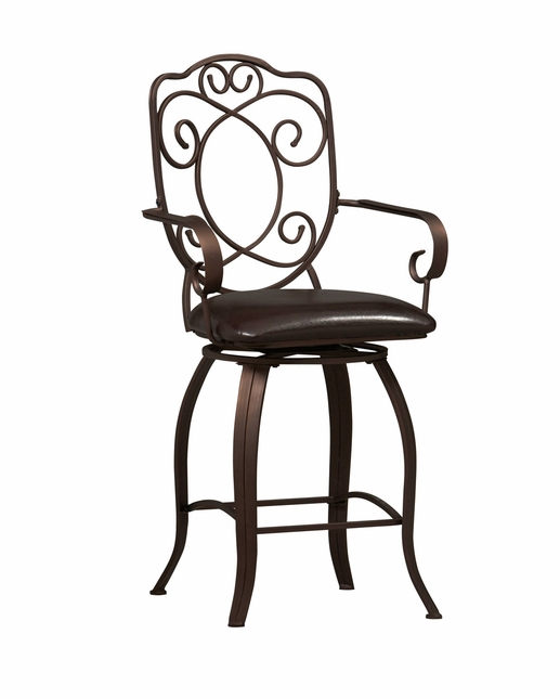 Crested Back Counter Height Swivel Bar Stool