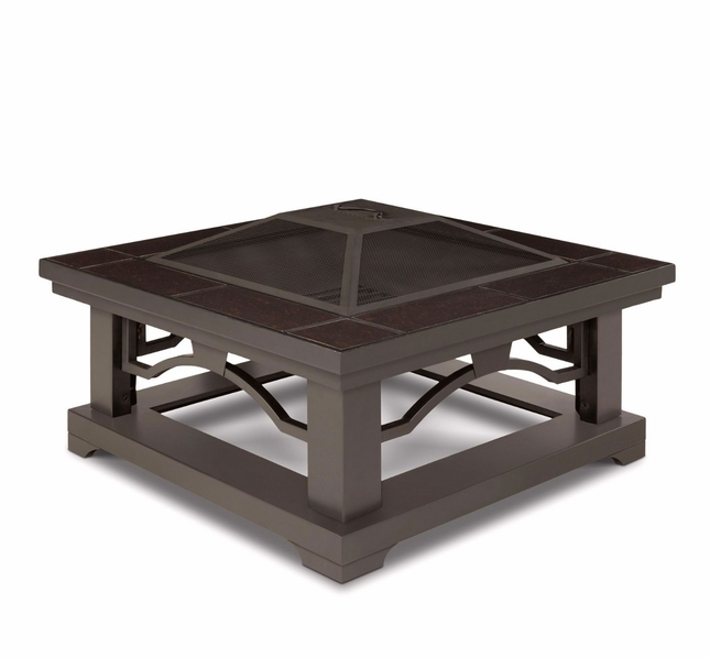 "Crestone Outdoor 34"" Square Fire Pit In Grey With Brown Tile Top"