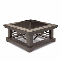 """Crestone Outdoor 34"""" Square Fire Pit In Grey With Grey Tile Top"""