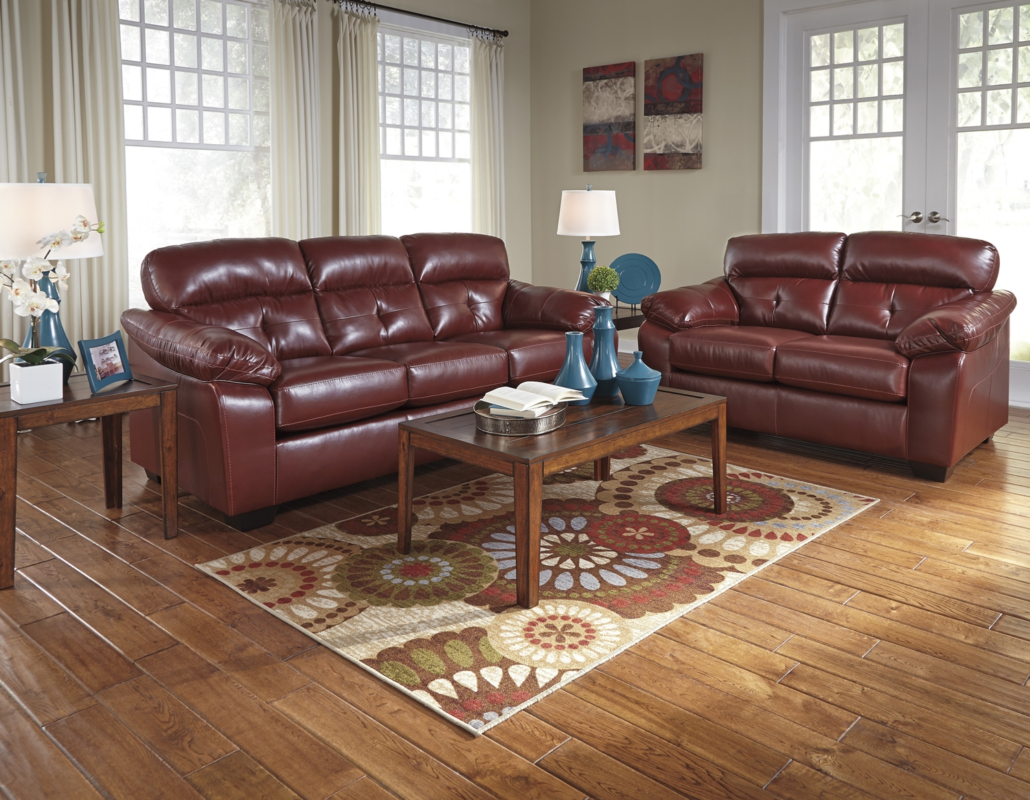 Crimson dark red casual contemporary living room furniture set ashley for Modern red living room furniture