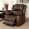 Cris Transitional Brown Glider Reclining Chair In Top Grain Leather