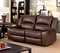 Cris Transitional Brown Motion Loveseat W/ 2 Recliners In Top Grain Leather