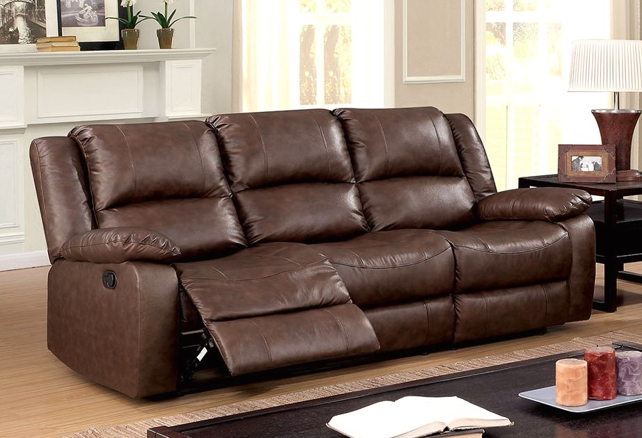 Cris Transitional Brown Motion Reclining Sofa In Top Grain