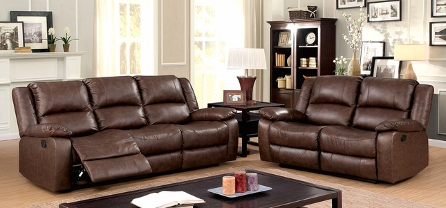 Cris Transitional Brown Reclining Sofa & Loveseat In Genuine Real Leather