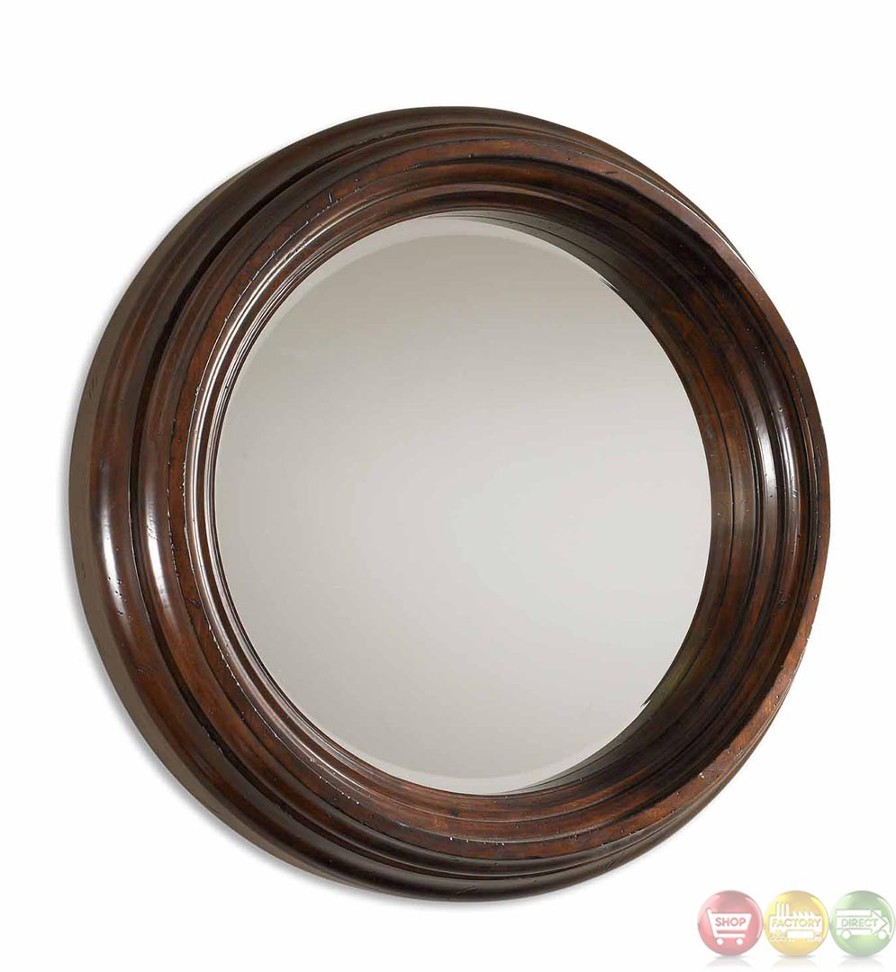 Cristiano contemporary distressed dark chestnut brown for Round wood mirror