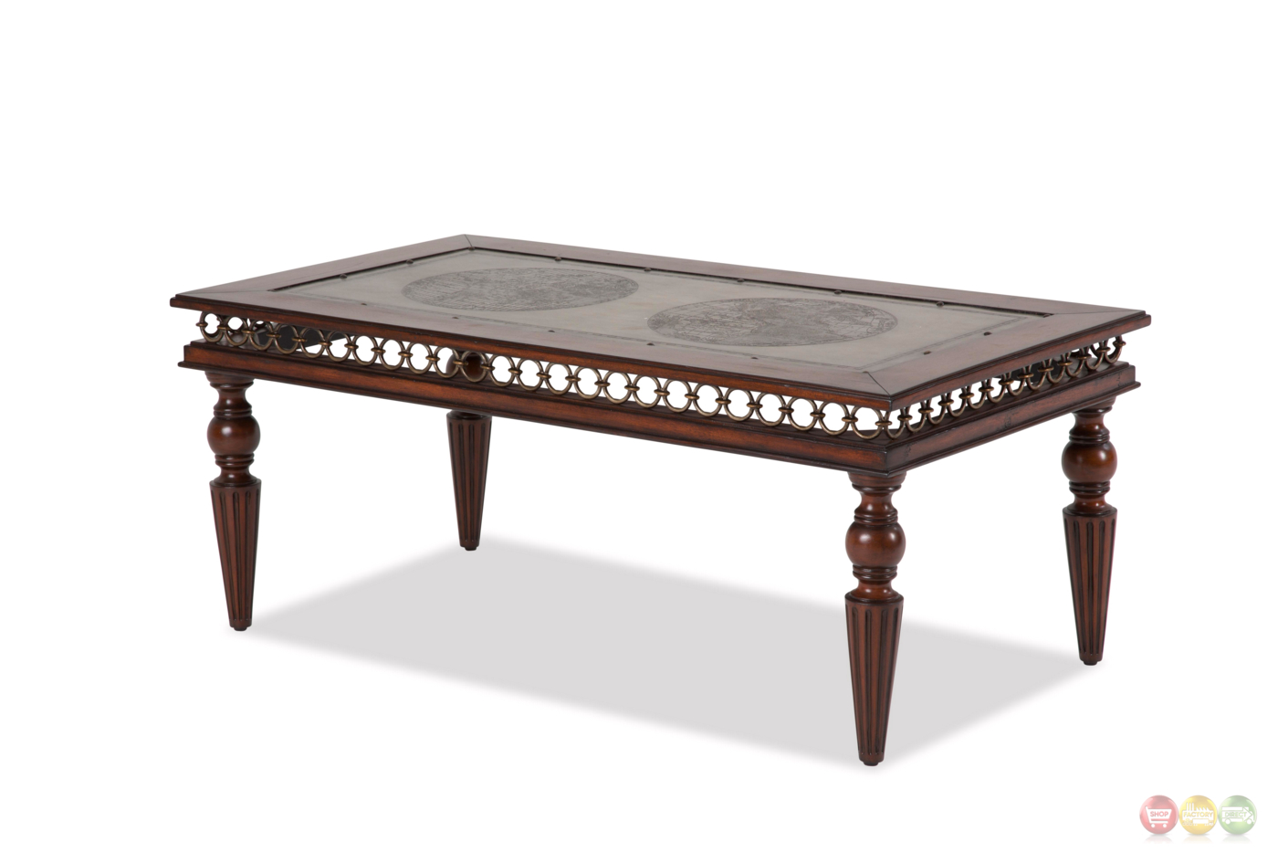 Crusade Casual Coffee Table W Etched Top Inlay In A Mahogany Finish